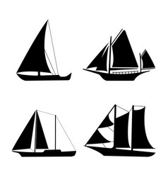 flat yacht icons boat logo on white background vector image