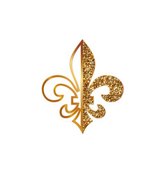 fleur de lis symbols golden glittering - heraldic vector image
