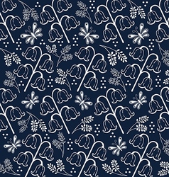 flower pattern set 2 white and navy blue vector image