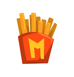 French fries in paper red box vector
