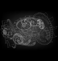 gear mechanism on black vector image