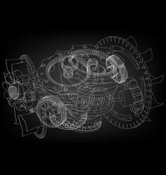 Gear mechanism on black vector