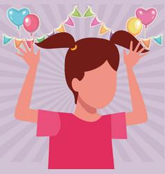 Girl jumping cartoon birthdays party vector