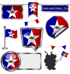 Glossy icons with flag of san antonio vector