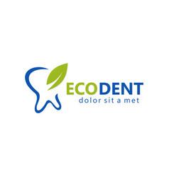 green leaf dental logo vector image