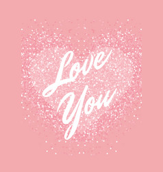 greeting card with pastel pink glitter heart and vector image