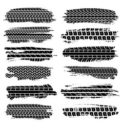 grunge tire tracks car motorcycle tires elements vector image