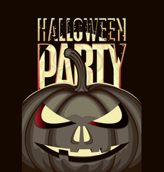 halloween banner with a spooky pumpkin and moon vector image
