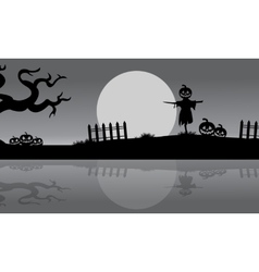 Halloween scarecrow silhouette in the riverbank vector