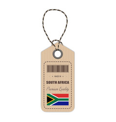 Hang tag made in south africa with flag icon vector