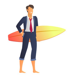happy businessman in suit with glitter surfboard vector image