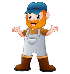 happy smiling old farmer standing vector image