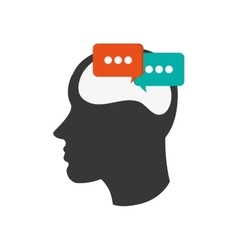 head silhouette profile and conversation bubble vector image