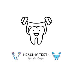 healthy teeth icon strong tooth holds barbell vector image