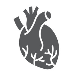 human heart glyph icon anatomy and biology vector image