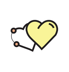 Icon two heart pen tool style yellow vector