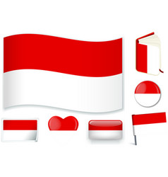 Indonesia indonesian flag wave book circle pin vector