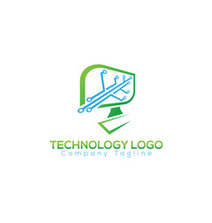leaf tech logo concept and idea vector image