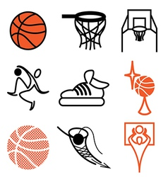 logo icons basketball vector image