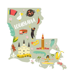 louisiana cartoon map with landmarks and symbols vector image
