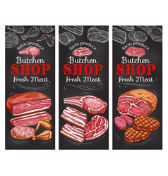 Meat and sausage chalkboard banner of buncher shop vector