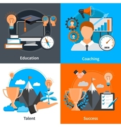 Mentoring Coaching Concept 2x2 Icons Set vector image