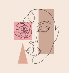 minimal woman face and geometric shapes vector image