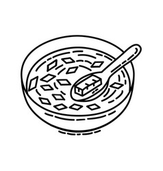Miso soup icon doodle hand drawn or outline icon vector