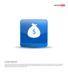 money bag icon - 3d blue button vector image