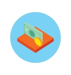 Money Icon Coin Isolated Round vector image