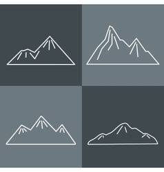Mountain line icons on gray background vector