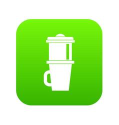 Mug for coffee icon digital green vector