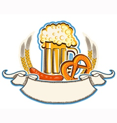 Oktoberfest symbol with beer and traditional food vector