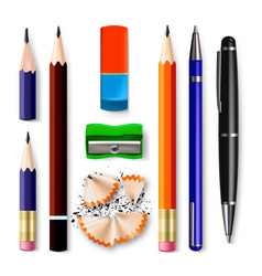 pen pencil stationery set sharpened vector image