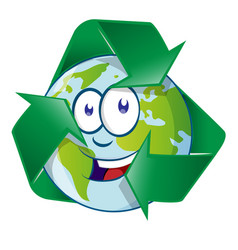 planet earth cartoon character on recyclin symbol vector image