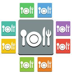 plate and cutlery icons - almost flat style - 9 vector image