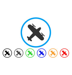 Propeller aircraft rounded icon vector