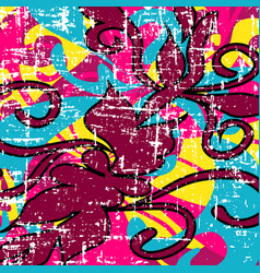 psychedelic colored graffiti pattern vector image