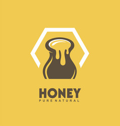 pure natural honey logo design idea vector image