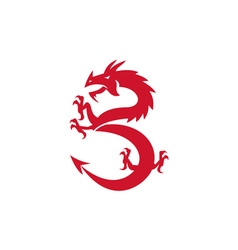 Red Dragon Prancing Silhouette Retro vector image
