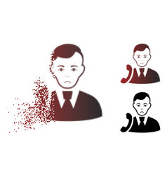 Sadly destructed pixel halftone call manager icon vector