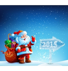 Santa Claus with gifts goes to Merry Christmas vector