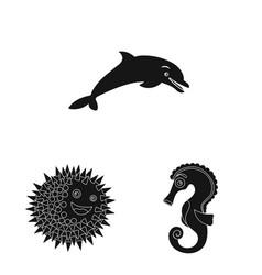 sea and animal logo set of vector image