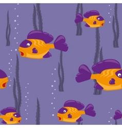 Seamless pattern yellow fish vector
