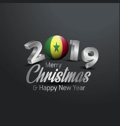Senegal flag 2019 merry christmas typography new vector