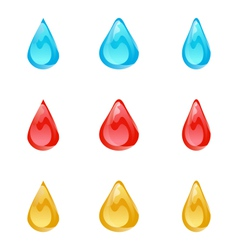 set of multicolored droplets isolated on white vector image