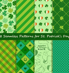 Set of St Patricks Day seamless pattern vector image