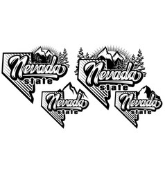 Set templates with nevada state and mountains vector