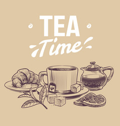 Sketch tea hand drawn objects for tea vector