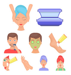 skin care set icons in cartoon style big vector image